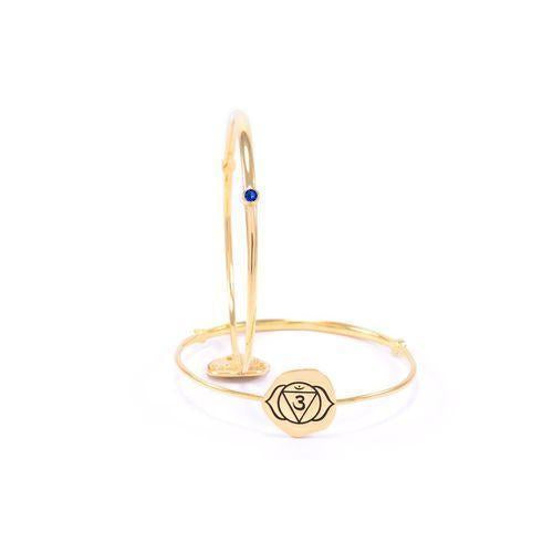 Brow Chakra Ajna Bangle, Iolite, 18K Gold Finish-Seven Saints-HOUSE of BOTTA