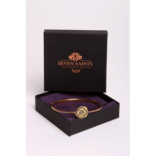 Brow Chakra Ajna Bangle, Iolite, White Rhodium Finish-Seven Saints-HOUSE of BOTTA
