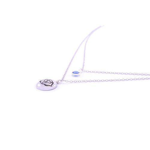 Brow Chakra Ajna Double Strand Necklace White Rhodium Finish-Seven Saints-HOUSE of BOTTA