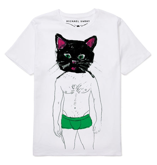 Cat in Green Short T-shirt-Men-HOUSE of BOTTA