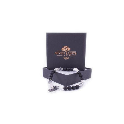 Chakra Crown Activation Bracelet, Rutilated Quartz & Onyx-Seven Saints-HOUSE of BOTTA