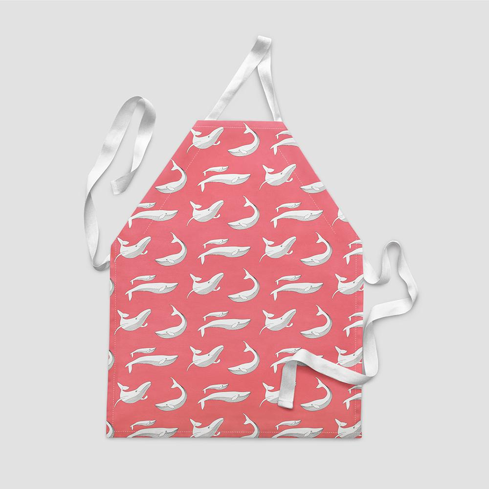 Children's Apron – Whale Splash Red-Kids-HOUSE of BOTTA