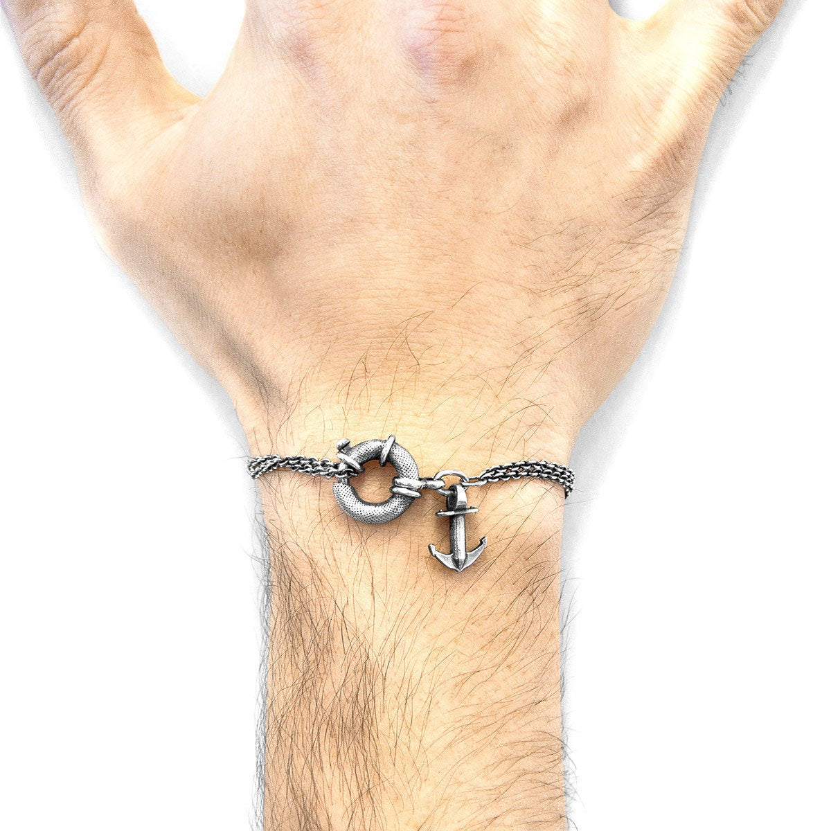 Clyde Anchor Mooring Silver Chain Bracelet-Men-HOUSE of BOTTA