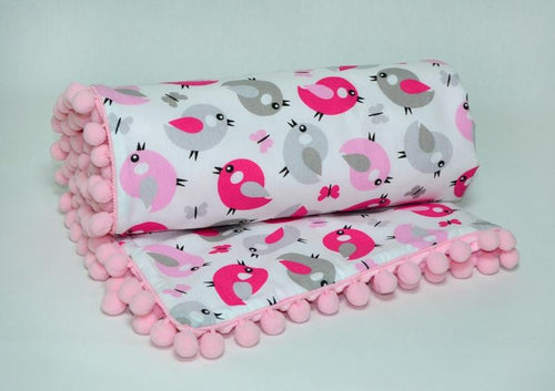 Double-Sided Pink Baby Blanket 'Spring Birds'-Kids-HOUSE of BOTTA