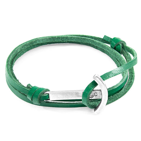 Green Dash Salcombe Silver And Rope Bracelet