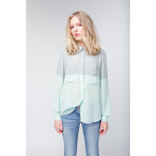 Finally Together Green-Mint Loose Colorblock Shirt-OVER THE SEA-HOUSE of BOTTA