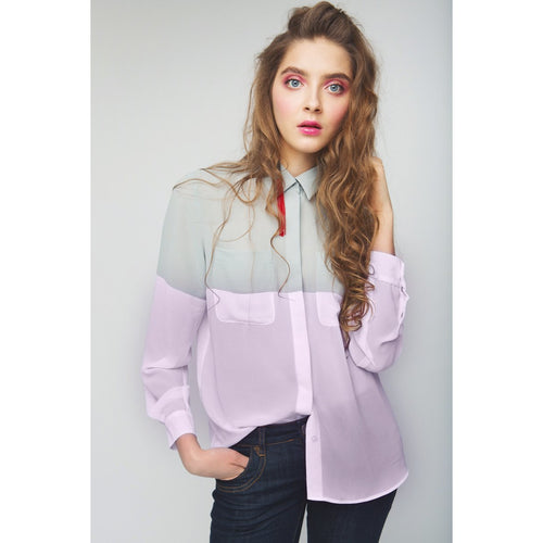 Finally Together Green-Pink Loose Colorblock Shirt-OVER THE SEA-HOUSE of BOTTA