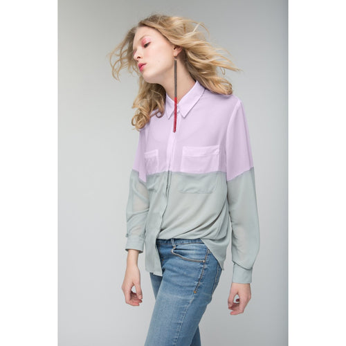 Finally Together Pink-Green Loose Colorblock Shirt-OVER THE SEA-HOUSE of BOTTA