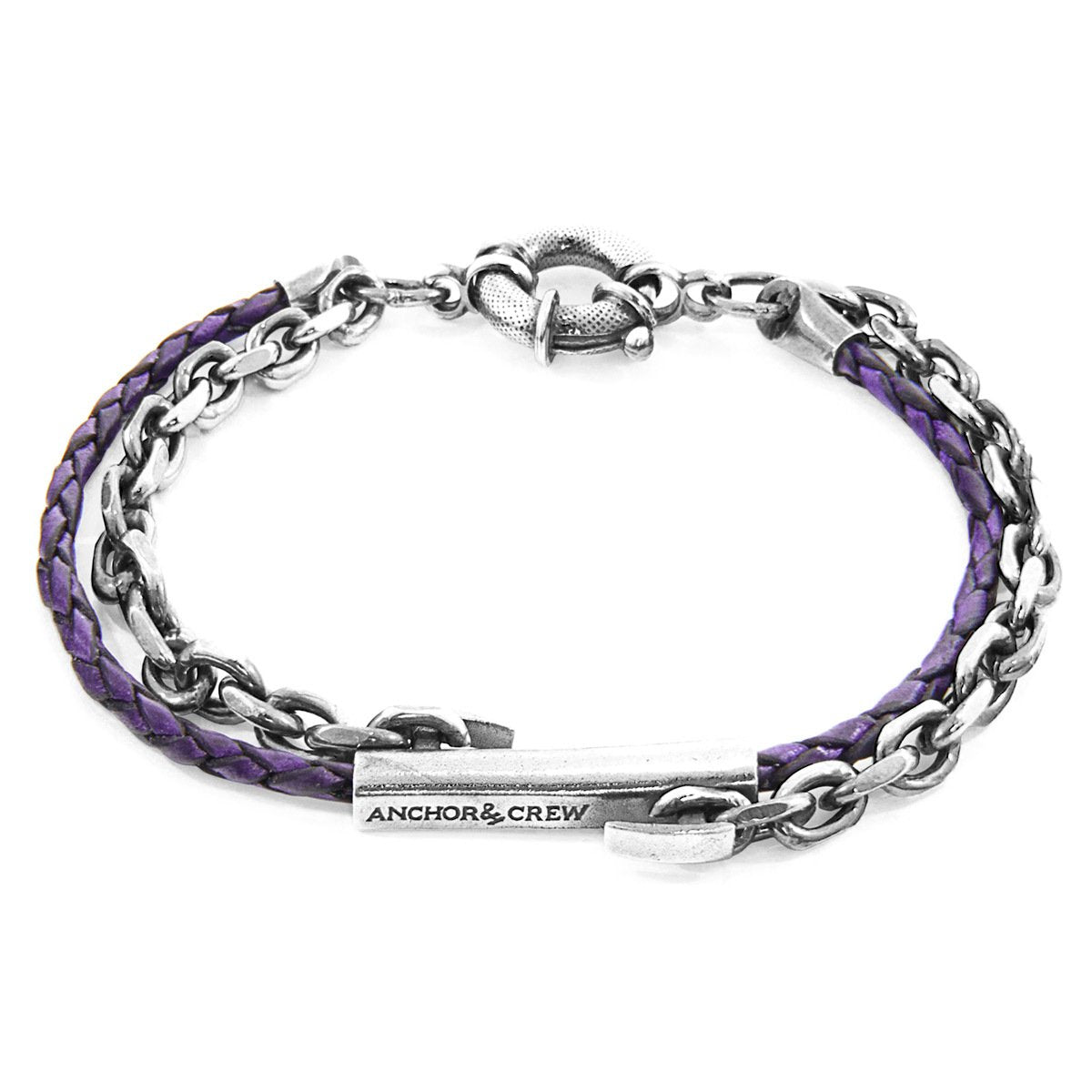 Grape Purple Belfast Silver And Braided Leather Bracelet-Men-HOUSE of BOTTA