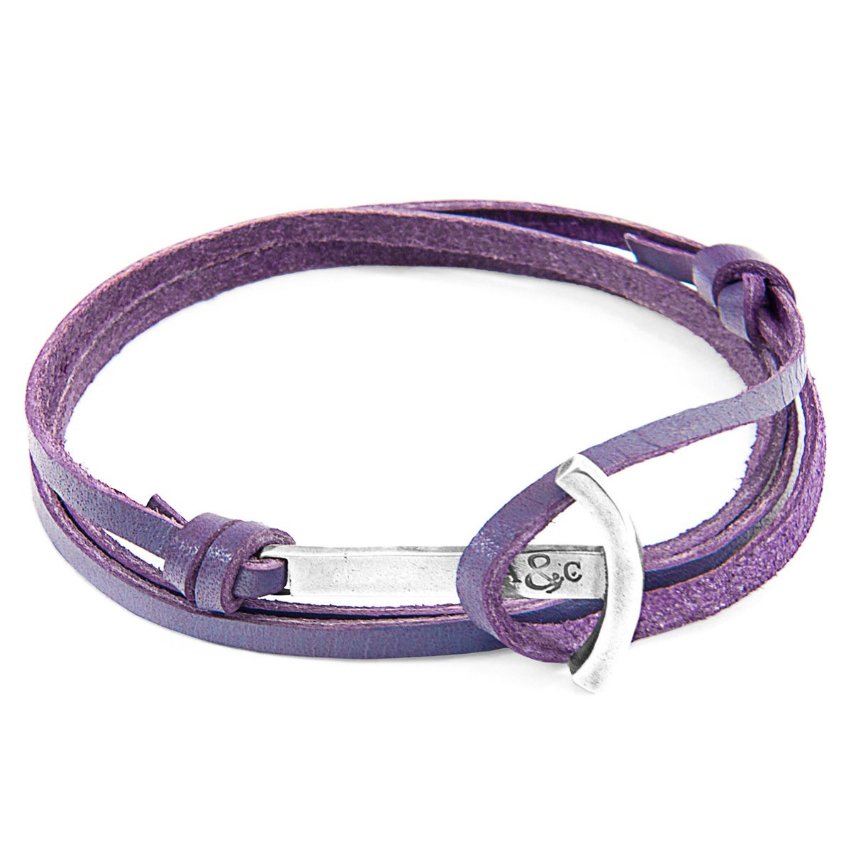 Grape Purple Clipper Anchor Silver And Flat Leather Bracelet-Men-HOUSE of BOTTA