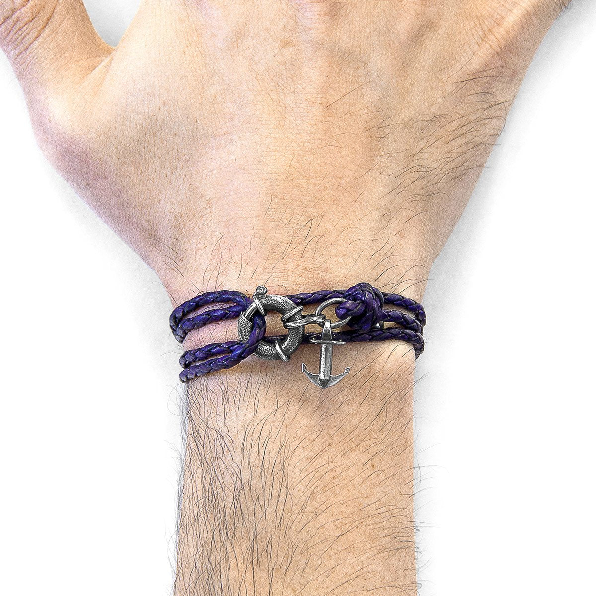 Grape Purple Clyde Anchor Silver And Braided Leather Bracelet-Men-HOUSE of BOTTA