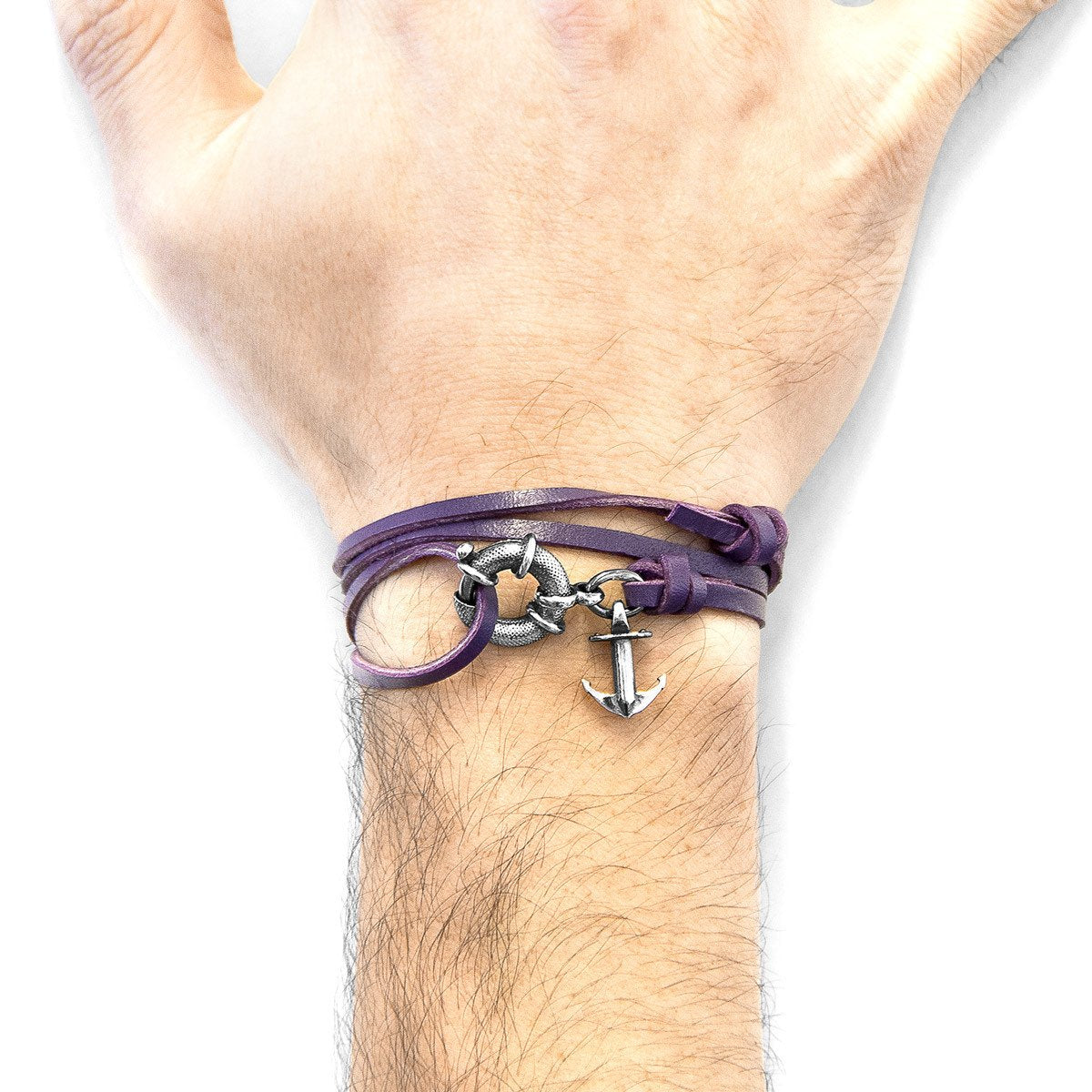 Grape Purple Clyde Anchor Silver And Flat Leather Bracelet-Men-HOUSE of BOTTA
