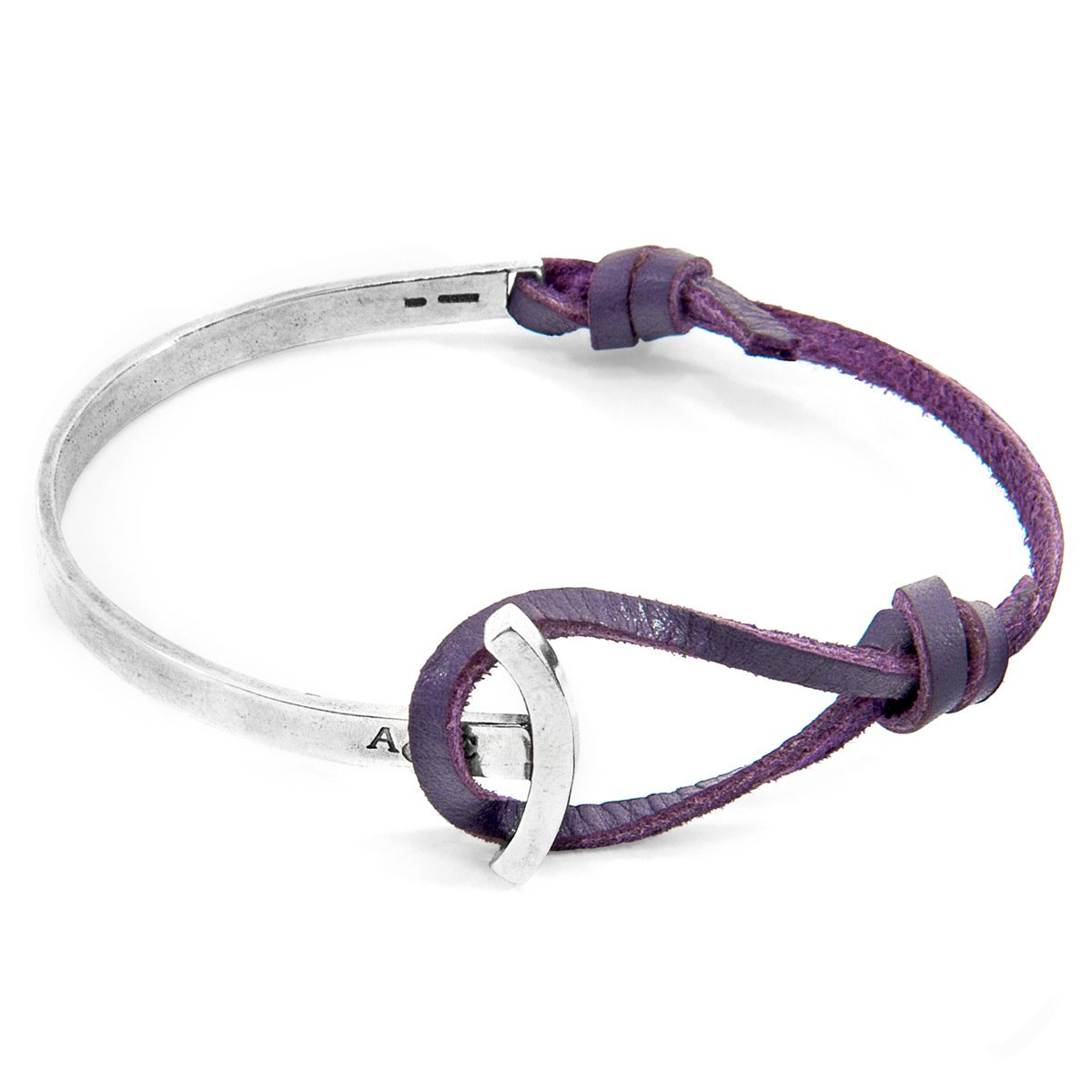 Grape Purple Galleon Anchor Silver And Flat Leather Half Bangle-Men-HOUSE of BOTTA