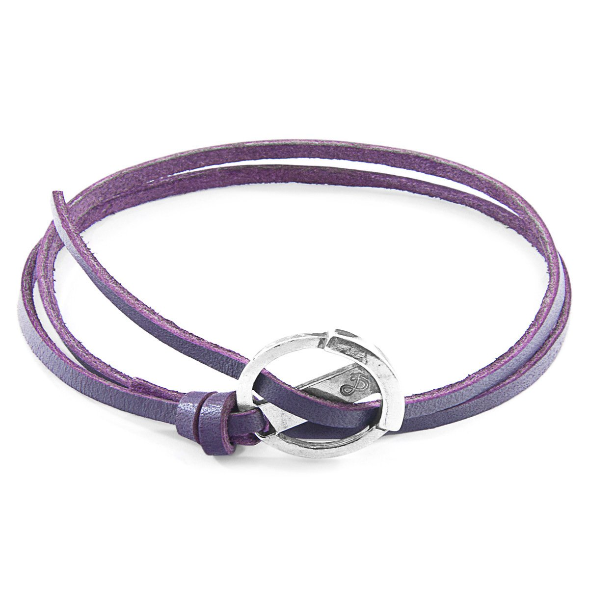 Grape Purple Ketch Anchor Silver And Flat Leather Bracelet-Men-HOUSE of BOTTA