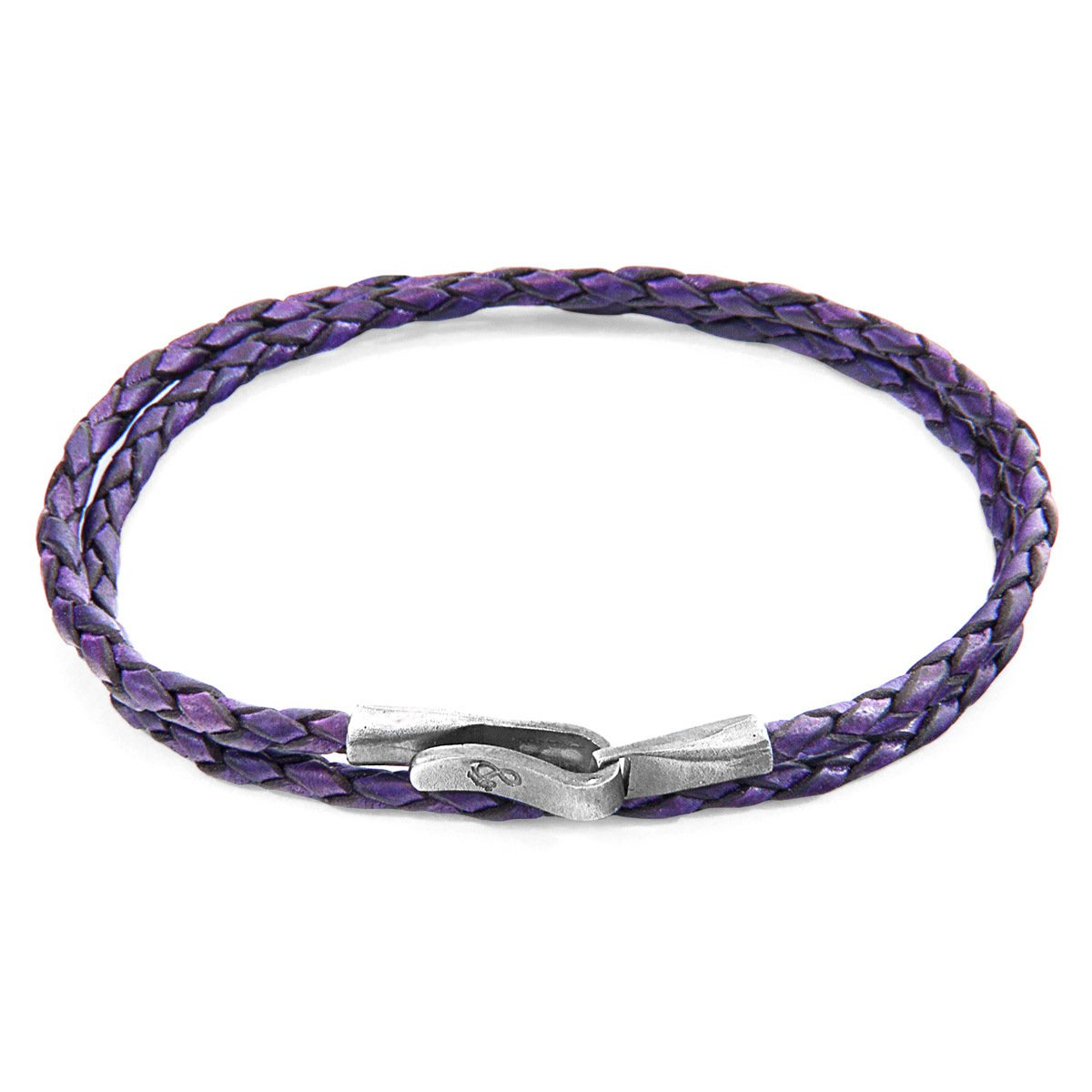 Grape Purple Liverpool Silver And Braided Leather Bracelet-Men-HOUSE of BOTTA