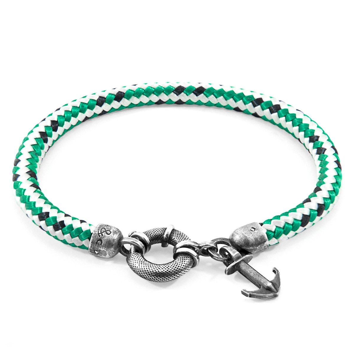 Green Dash Salcombe Silver And Rope Bracelet-Men-HOUSE of BOTTA