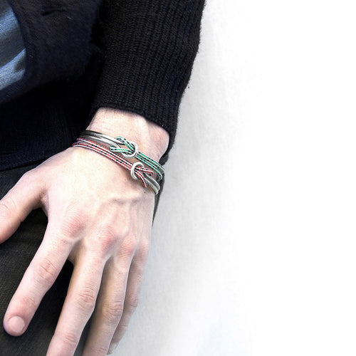 Green Dash Tay Silver And Rope Half Bangle-Men-HOUSE of BOTTA