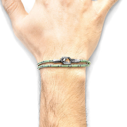 Green Dash Tenby Silver And Rope Bracelet-Men-HOUSE of BOTTA