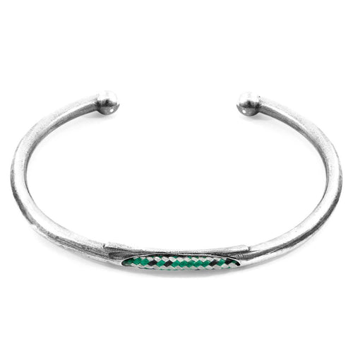 Green Dash Trent Silver And Rope Bangle-Men-HOUSE of BOTTA