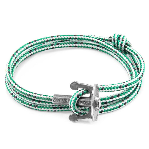 Green Dash Union Anchor Silver And Rope Bracelet-Men-HOUSE of BOTTA