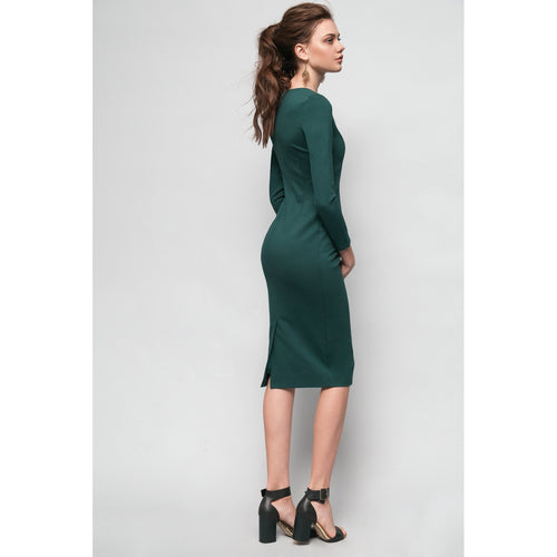 Green Midi Bodycon Dress Never Let Me Go-OVER THE SEA-HOUSE of BOTTA