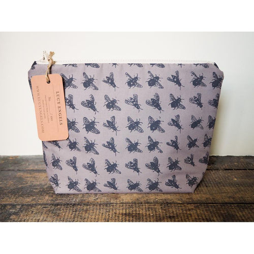 Grey Bee Bag - Large Makeup Bag-Lucy Engels-HOUSE of BOTTA