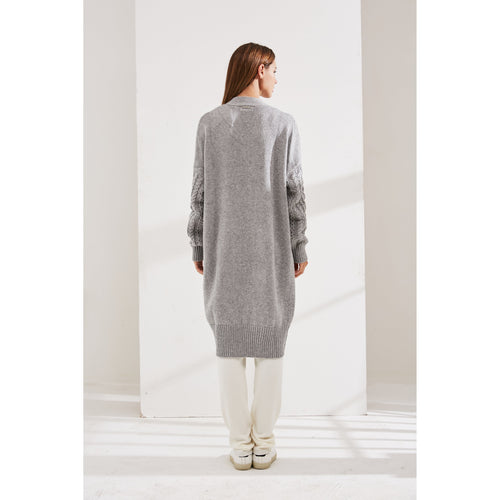 Grey Cashmere Cardigan With Knitted Sleeves-INA VOKICH-HOUSE of BOTTA