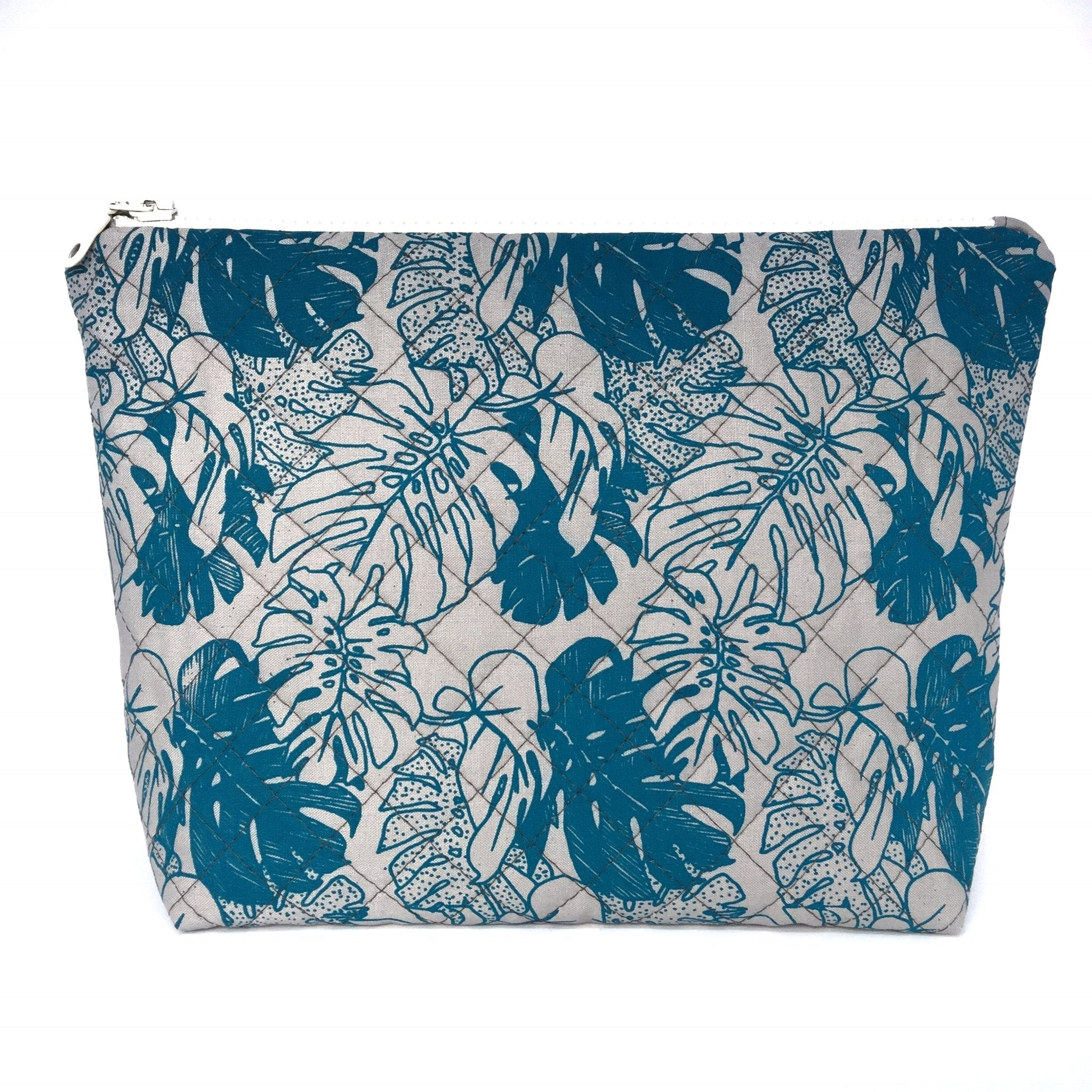 Grey Monstera Large Makeup Bag-Lucy Engels-HOUSE of BOTTA