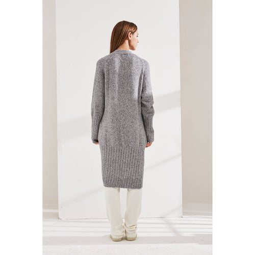 Grey Rib Knitted Cardigan-INA VOKICH-HOUSE of BOTTA