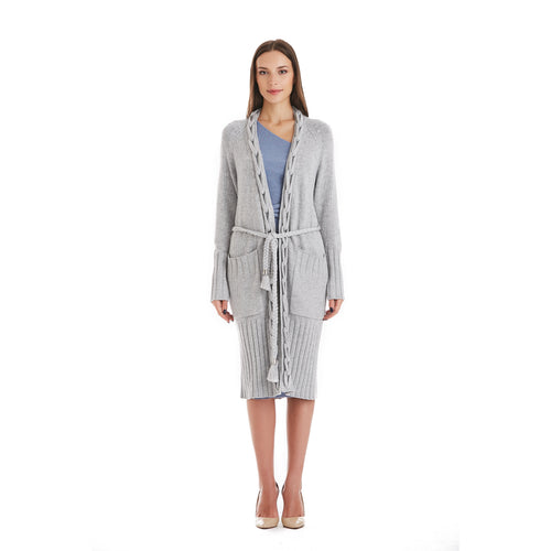 Grey Сable Kniited Cardigan With Belt-INA VOKICH-HOUSE of BOTTA