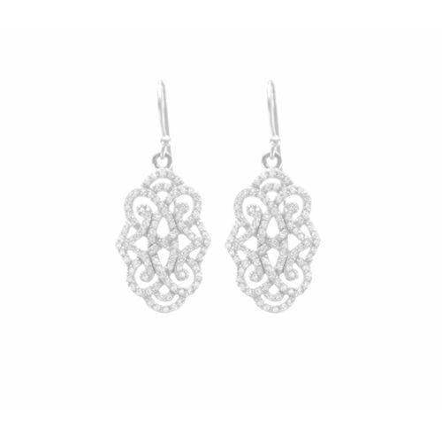Infinite Love Drop Earrings With White Topaz Pave, 18K Gold Vermeil-Seven Saints-HOUSE of BOTTA
