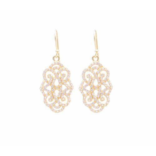 Infinite Love Drop Earrings With White Topaz Pave-Seven Saints-HOUSE of BOTTA