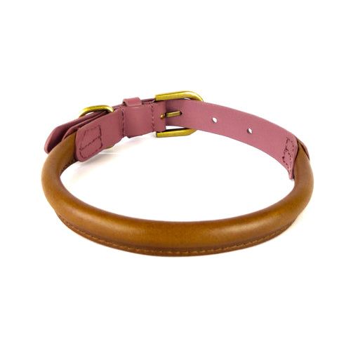 Kera Rolled Leather Collar Dusky Pink & Tan-Pets-HOUSE of BOTTA