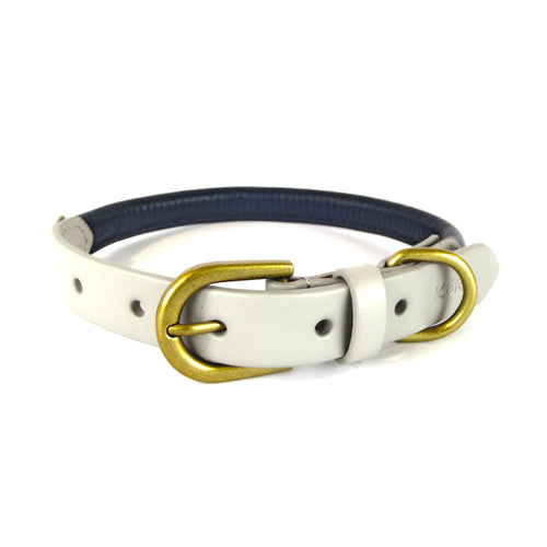 Kera Rolled Leather Collar Midnight Blue & Light Grey-Pets-HOUSE of BOTTA