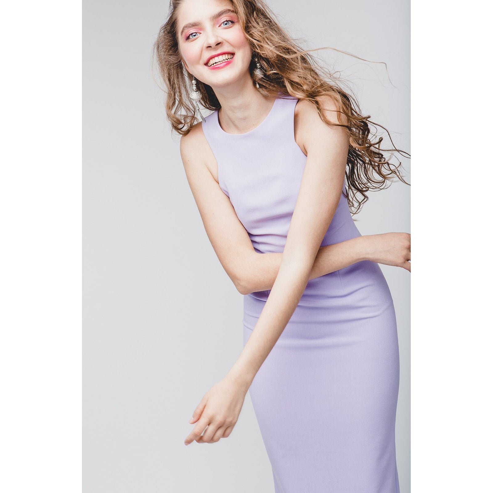 Lavender Midi Length Bodycon Dress Friday Is Fr Love-OVER THE SEA-HOUSE of BOTTA