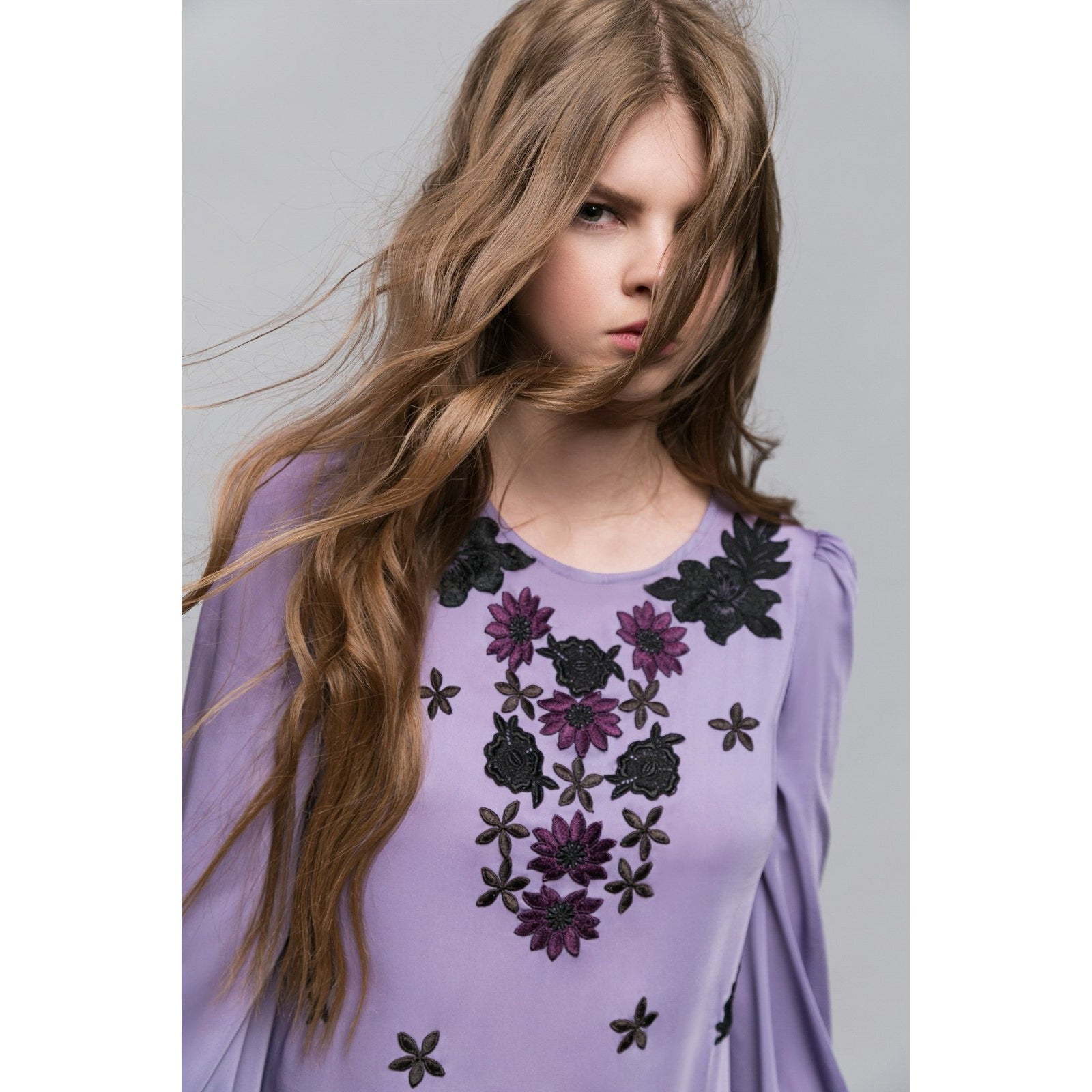 Lavender Silky Embroidery Bohemian Dress Her Deep Blue Eyes-OVER THE SEA-HOUSE of BOTTA