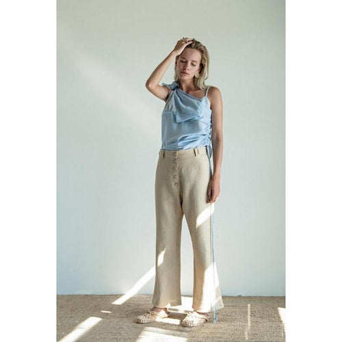 Linen Beige Checkered Button Pants-K M BY L A N G E-HOUSE of BOTTA