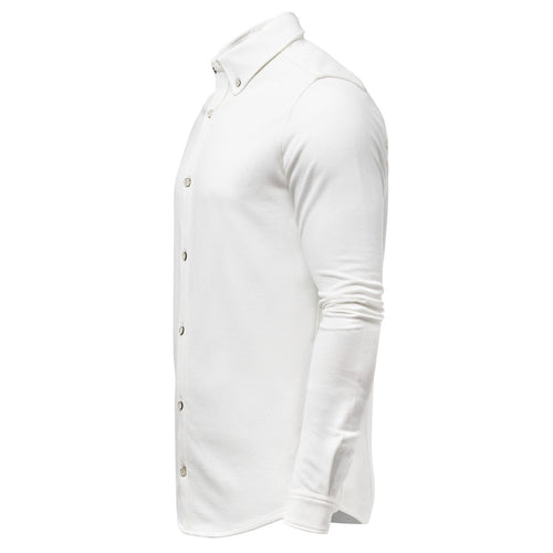 Long Sleeve Cotton Pique Shirt Natural Buttons-Men-HOUSE of BOTTA