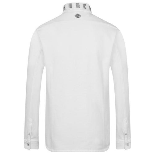 Long Sleeve Cotton Pique White Shirt – Branded Collar-Men-HOUSE of BOTTA