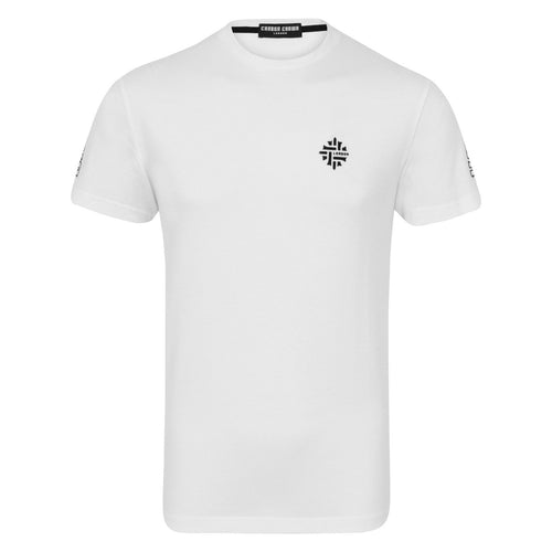 Minimalistic Logo & Crosses Combo White T-Shirt-Men-HOUSE of BOTTA