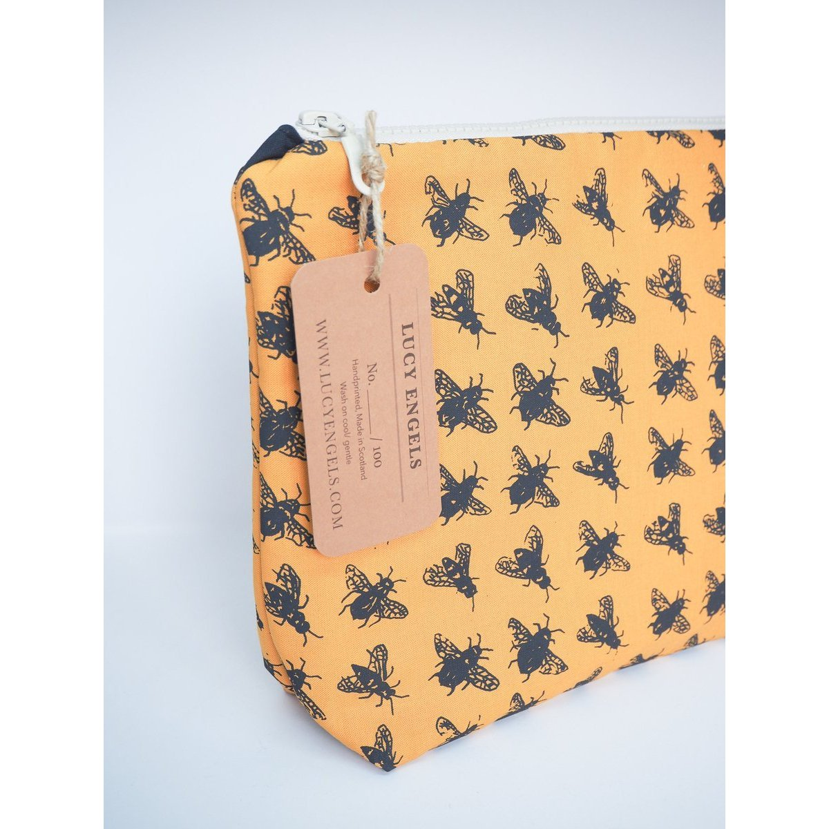 Mustard Bee Bag - Large Makeup Bag-Lucy Engels-HOUSE of BOTTA