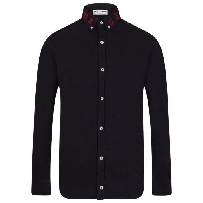 Navy Blue Cotton Pique Shirt – Branded Collar-Men-HOUSE of BOTTA