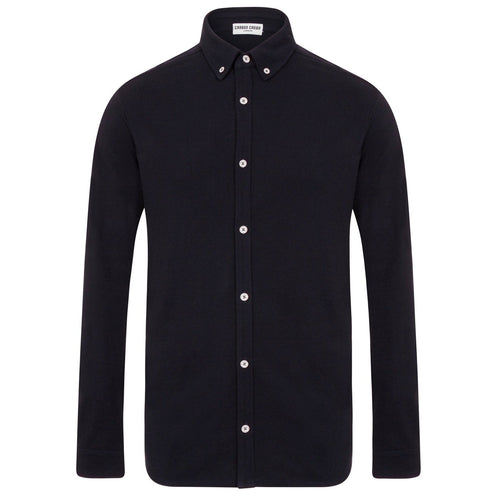 Navy Blue Cotton Pique Shirt White Buttons-Men-HOUSE of BOTTA