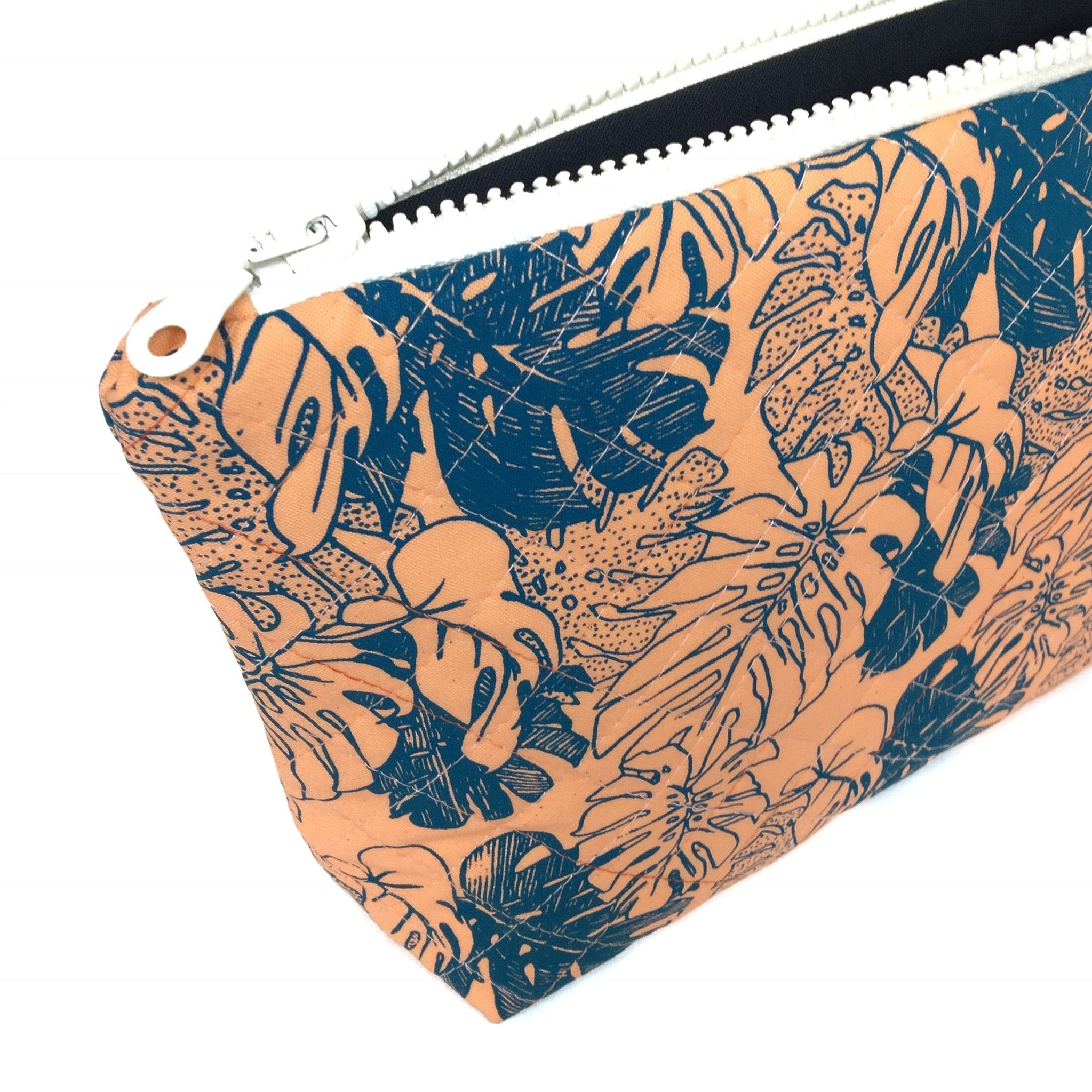 Orange Monstera Large Makeup Bag-Lucy Engels-HOUSE of BOTTA
