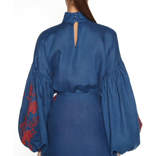 Ornament Blouse In Dark Blue-ORNAMENT-HOUSE of BOTTA