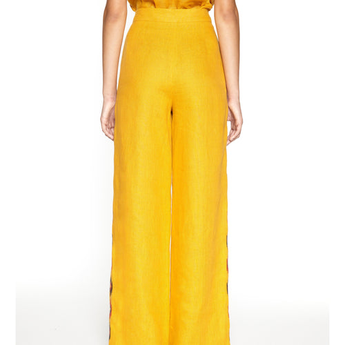 Ornament Yellow Wide-leg Pants-ORNAMENT-HOUSE of BOTTA