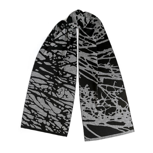 Painted Tree Scarf - Black & Grey Mouline-MIMOODS KNITS-HOUSE of BOTTA
