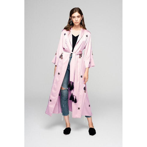 Pink Silky Kimono With Embroidery We Just Be-OVER THE SEA-HOUSE of BOTTA
