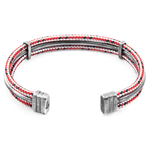 Red Dash Aire Silver And Rope Bangle-Men-HOUSE of BOTTA