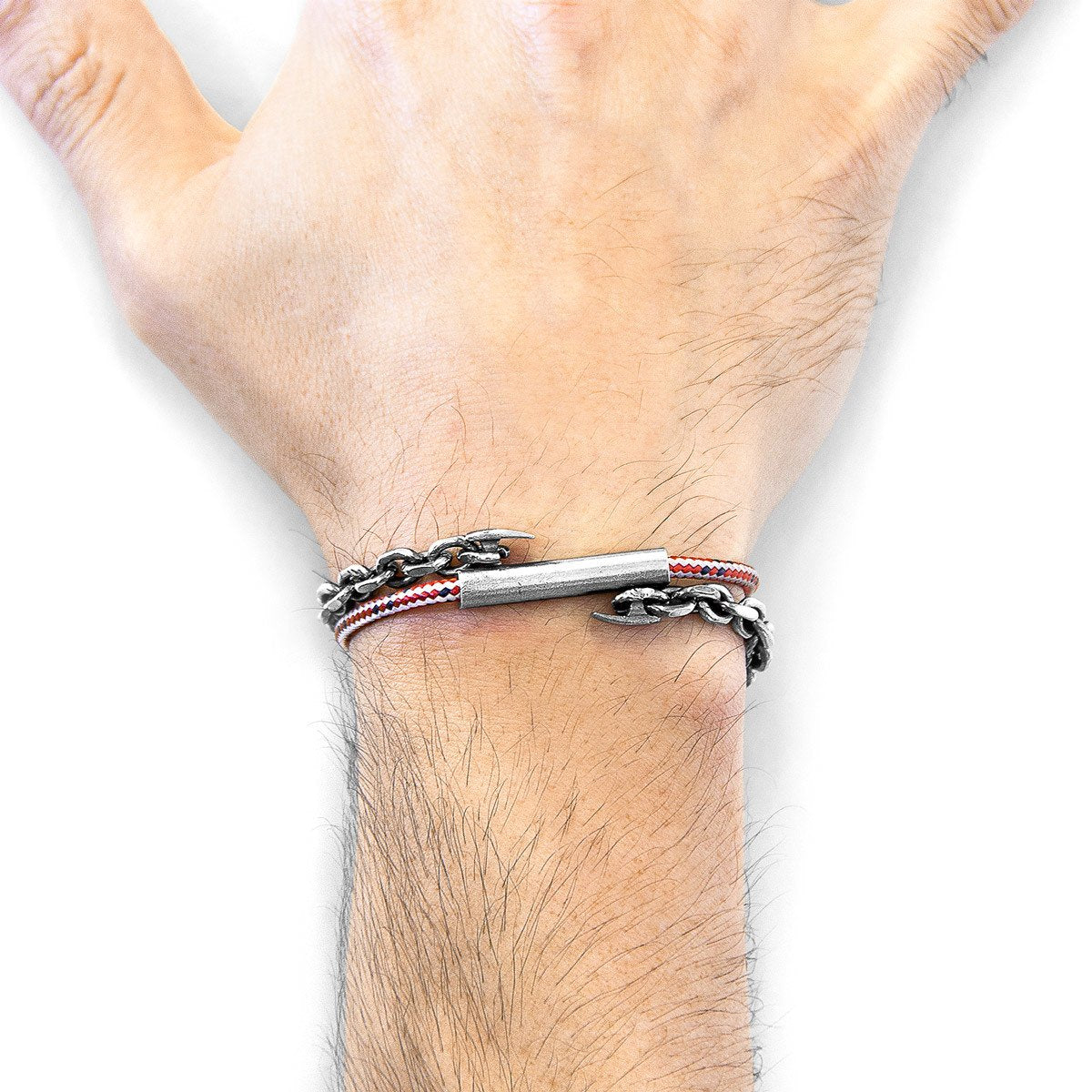 Red Dash Belfast Silver And Rope Bracelet-Men-HOUSE of BOTTA